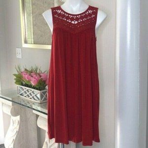 Loft Popover Red Crochet Neck Sleeveless Dress, M
